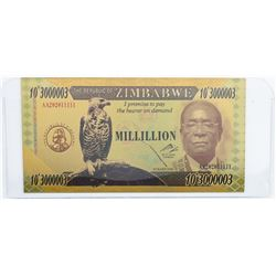 Reserve Bank of Zimbabwe Million Dollars 24k  Gold Leaf.