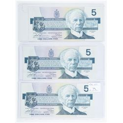 Lot (3) Bank of Canada 1986 5.00 3 Different  Prefix (EPS) (FOW) (FNH) Choice UNC
