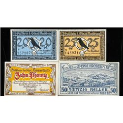 Group of (4) GermanA/Austria Notgeld, Notes