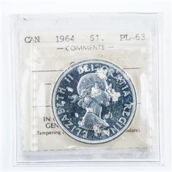 1964 Canada Silver Dollar ICCS. PL63