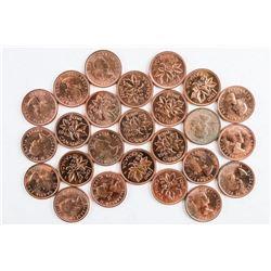 Lot (25) Canada 1963 1 Cent 'BU' Coins. CAT  7.00 each +