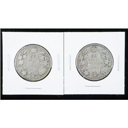 Lot (2) 1916 and 1931 Silver Canada 50 Cents