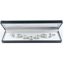 MM Designer Fancy Custom Bracelet (7)  Flawless Cushion Cut Swarovski Elements, with  Bead Setting