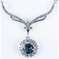 925 Sterling Silver Necklace, .65ct - Blue  Topaz and 1.00ct 'CZ' RRV: $870.00