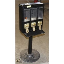 TRIPLE DISPENSER BLACK CANDY MACHINE WITH KEY