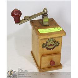 VINTAGE GERMAN 1930'S WOOD COFFEE GRINDER CASTLE