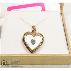 14KT LOCKET & CHAIN WITH MOTHER OF PEARL RETAIL