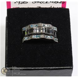 .925 3 PC STACKABLE RING WITH BLUE DIAMONDS