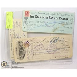 3 EARLY CANADIAN BANK CHEQUES WITH TAX STAMPS