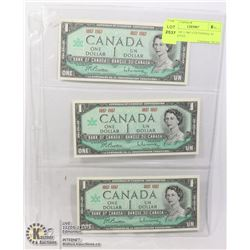 GROUP OF 3 1967 CENTENNIAL $1 BANKNOTES