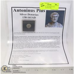 AUTHENTIC ANTONINUS PIUS ANCIENT SILVER COIN.