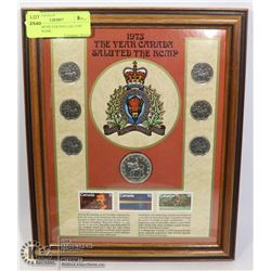 1973 RCMP SILVER DOLLAR COIN SET IN FRAME