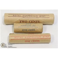 3-MINT SEALED B.U. AUSTRALIA 1C/2C/5C COIN ROLLS