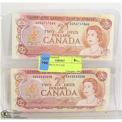 TWO CANADIAN $2 BILLS IN CASE