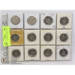 LOT OF 12 CANADA 50 CENT COINS