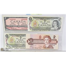 1973 CANADIA$1 BILL, 1986 $2  AND 1954 $2 BILLS