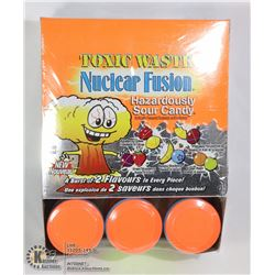 BOX WITH 12 42G DRUMS OF TOXIC WASTE SOUR CANDYS