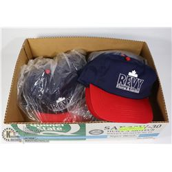 BOX WITH 16 NEW BASEBALL CAPS - BLUE AND