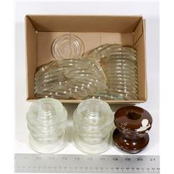 ESTATE-3 INSULATORS, 38 GLASS CORNING LIDS