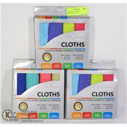 THREE NEW 4 PACKS OF MICROFIBER CLOTHS