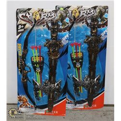 TWO BOW AND ARROW/ SWORD TOY SETS