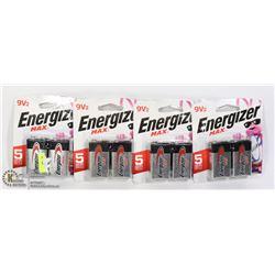FOUR 2 PACKS OF ENERGIZER 9V BATTERIES