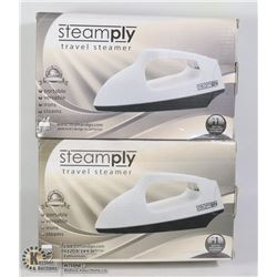 LOT OF 2 NEW STEAMPLY WHITE TRAVEL STEAMERS