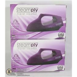 LOT OF 2 NEW STEAMPLY PURPLE TRAVEL STEAMERS