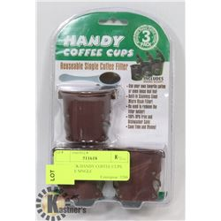 NEW 3 CUP HANDY COFFEE CUP REUSABLE SINGLE COFFEE