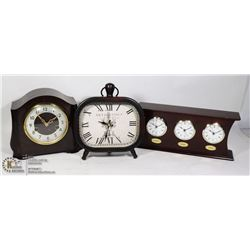 FLAT OF CLOCKS INCLUDING ONE VINTAGE SMITHS ENFIED
