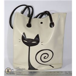 CREAM AND BLACK CAT THEMED BAG