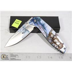 FOLDING KNIFE WITH BELT CLIP AND DEER DESIGN