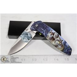 FOLDING KNIFE WITH BELT CLIP AND WOLF DESIGN