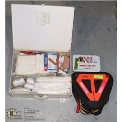 BUNDLE OF FIRST AID KITS AND A SET OF JUMPER