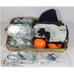 FLAT OF WORK PPE INCLUDING GLOVES, GOOGLES,