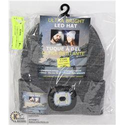 NEW ULTRA BRIGHT LED GREY HAT W/ 4 LED HEAD LAMP