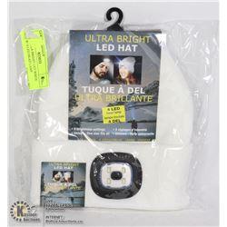 NEW ULTRA BRIGHT LED WHITE HAT W/ 4 LED HEAD LAMP