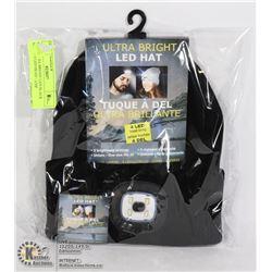 NEW ULTRA BRIGHT LED BLACK HAT W/ 4 LED HEAD LAMP
