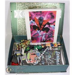 BOX OF ASSORTED COMIC FLASH ART & MEMORABILIA