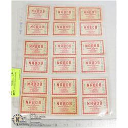 SHEETS OF NABOD TEA COUPONS