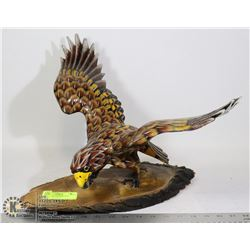 WOOD HAND CARVED HAWK
