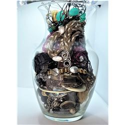 16)  VASE FULL OF WATCHES, NECKLACES, RINGS,