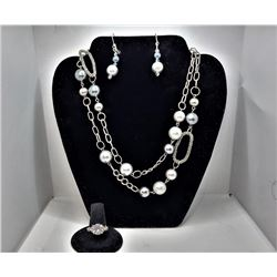 13) SET OF SILVER TONE AND PEARL DROP