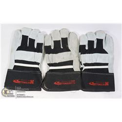 BOX W/ 3 SETS OF LEATHER WORK GLOVES SIZE: LARGE