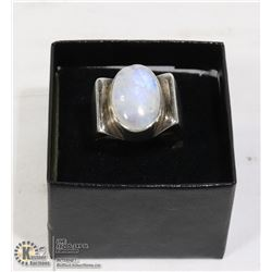 HEAVY 925 RING WITH LARGE MOONSTONE SIZE 8