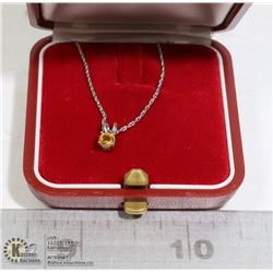 STERLING SILVER CITRINE PENDANT AND CHAIN