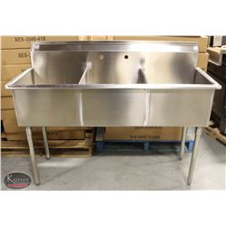 NEW STAINLESS STEEL 3-WELL SINK