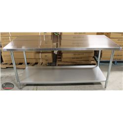 NEW 30 X72 X34  STAINLESS STEEL WORKTABLE W/
