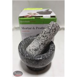 "NEW 3.5"" GRANITE MORTAR & PESTLE"