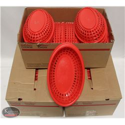 LOT OF 3 BOXES OF RED PLASTIC SERVING BASKETS.